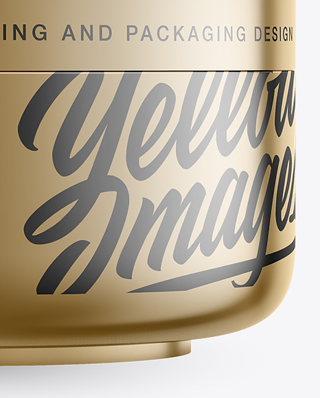 Metallic Cosmetic Jar Mockup - Front View