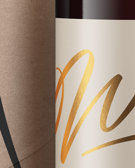 Clear Glass Red Wine Bottle and Tube Mockup