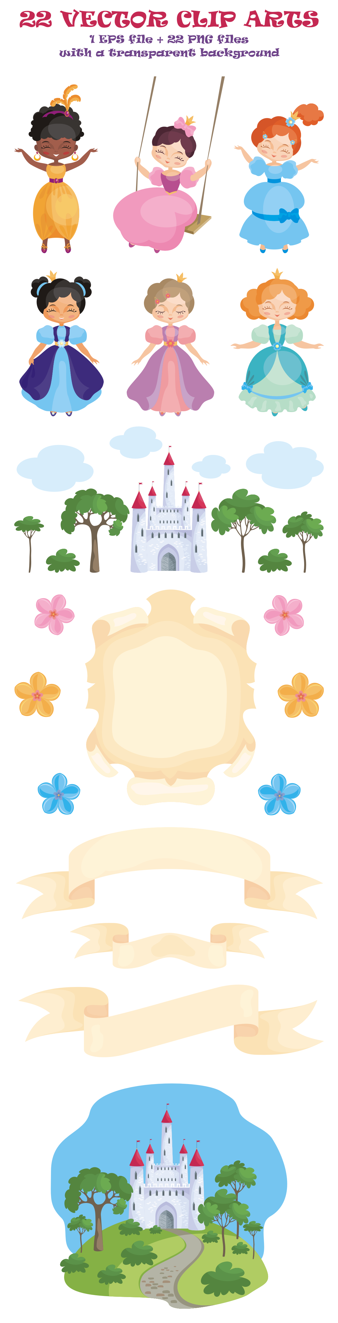 Princesses. Vector clip arts.