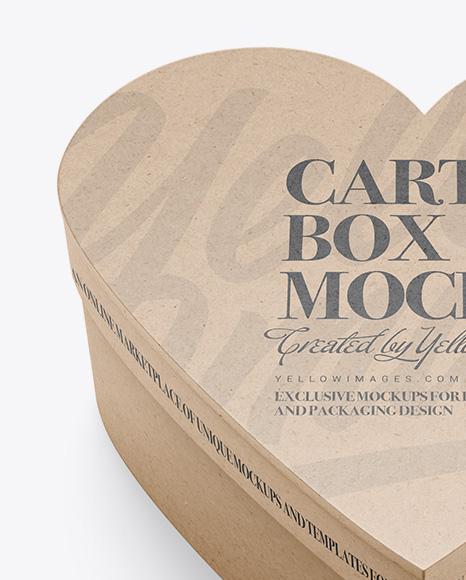 Heart Shaped Kraft Box Mockup - High Angle View