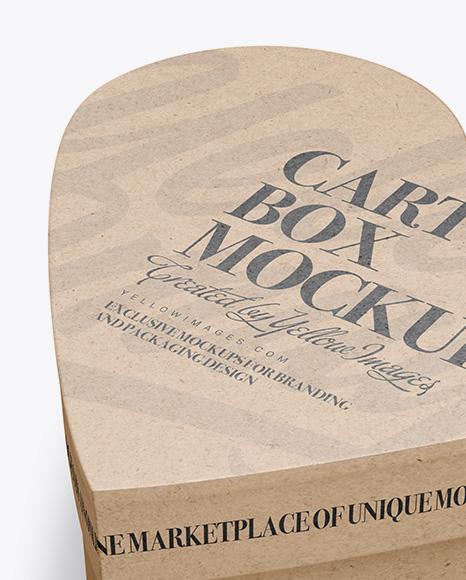 Heart Shaped Kraft Box Mockup - Half Side View (High-Angle Shot)