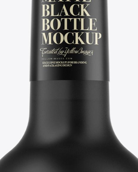 Download Matte Black Liquor Bottle Mockup Front View In Bottle Mockups On Yellow Images Object Mockups PSD Mockup Templates