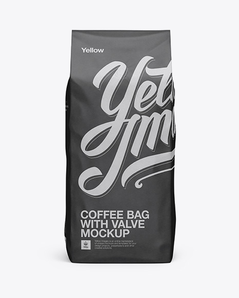2,5 kg Coffee Bag With Valve Mockup - Front View