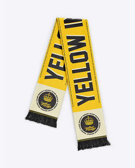 Soccer Scarf Mockup in Apparel Mockups on Yellow Images