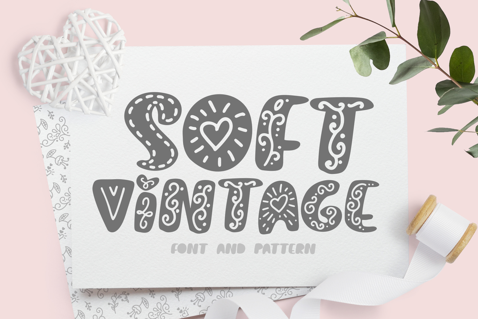 Soft vintage Scandinavian Decor Font in Fonts on Yellow