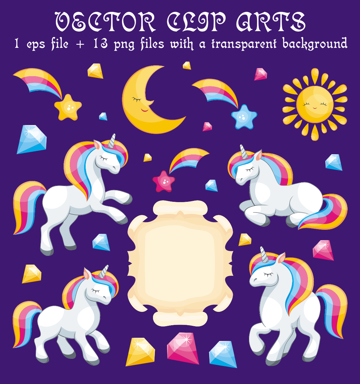 Magical unicorns. Vector clip arts.
