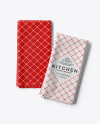 Two Folded Kitchen Towels Mockup - Top View