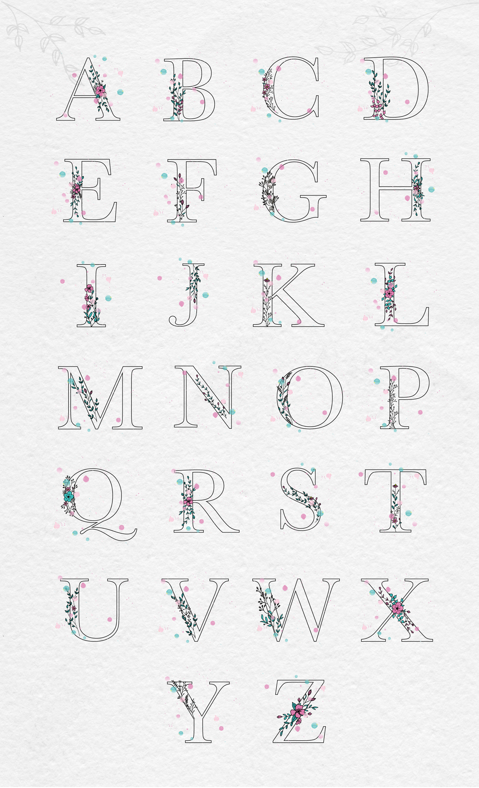 Floral Alphabet and Graphics