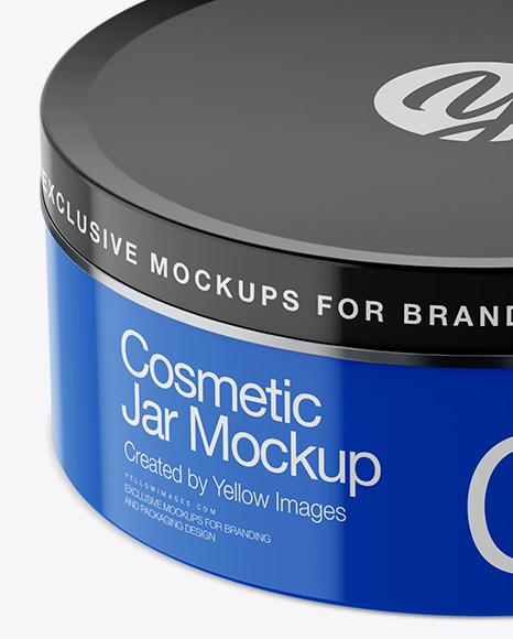 Glossy Cosmetic Jar Mockup - High-Angle Shot