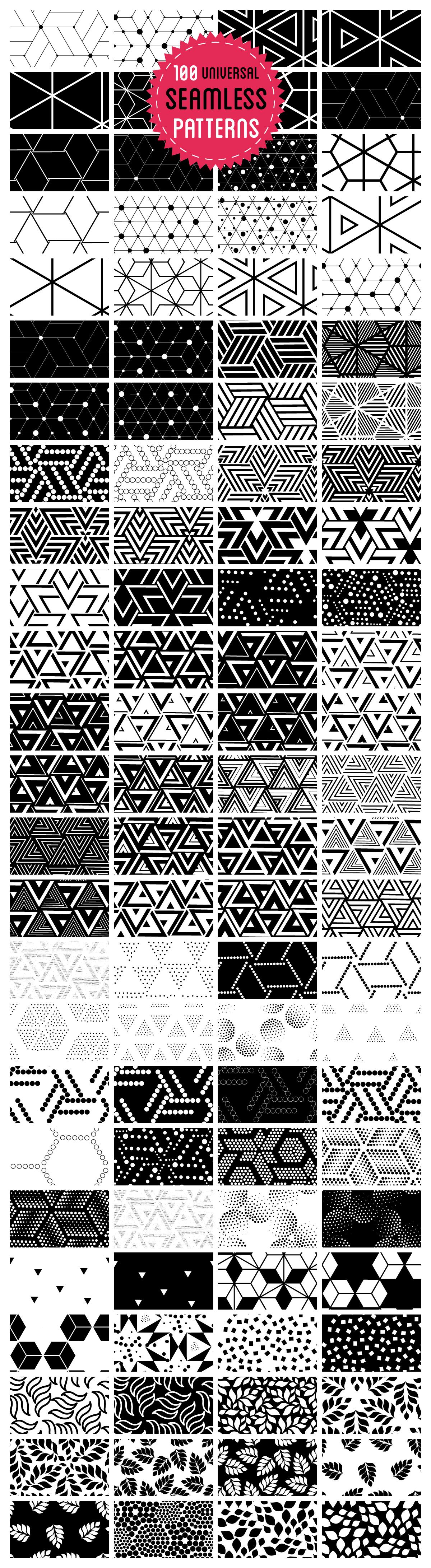 100 universal seamless patterns
