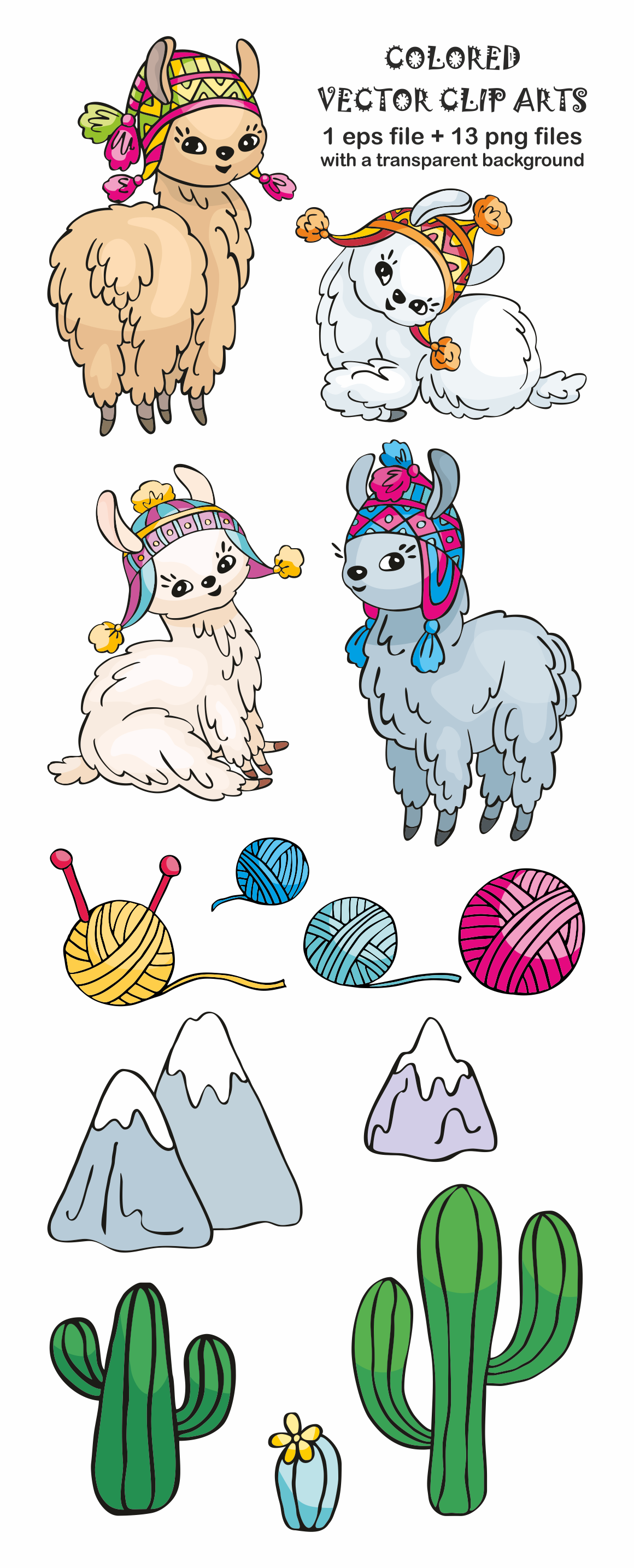 Cute llamas. Vector doodles mini set.