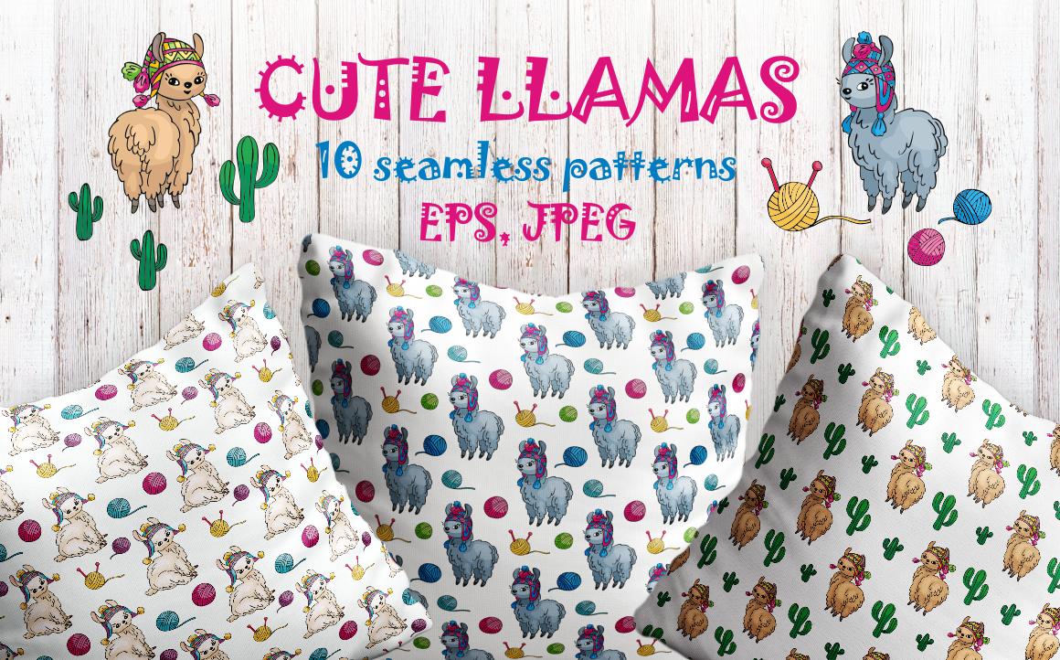 Cute llamas. Doodles Seamless Patterns