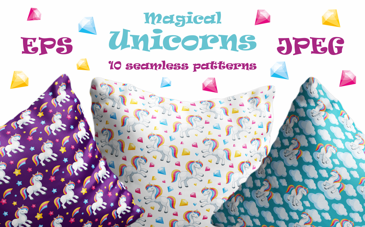 Magical unicorns. Seamless patterns.