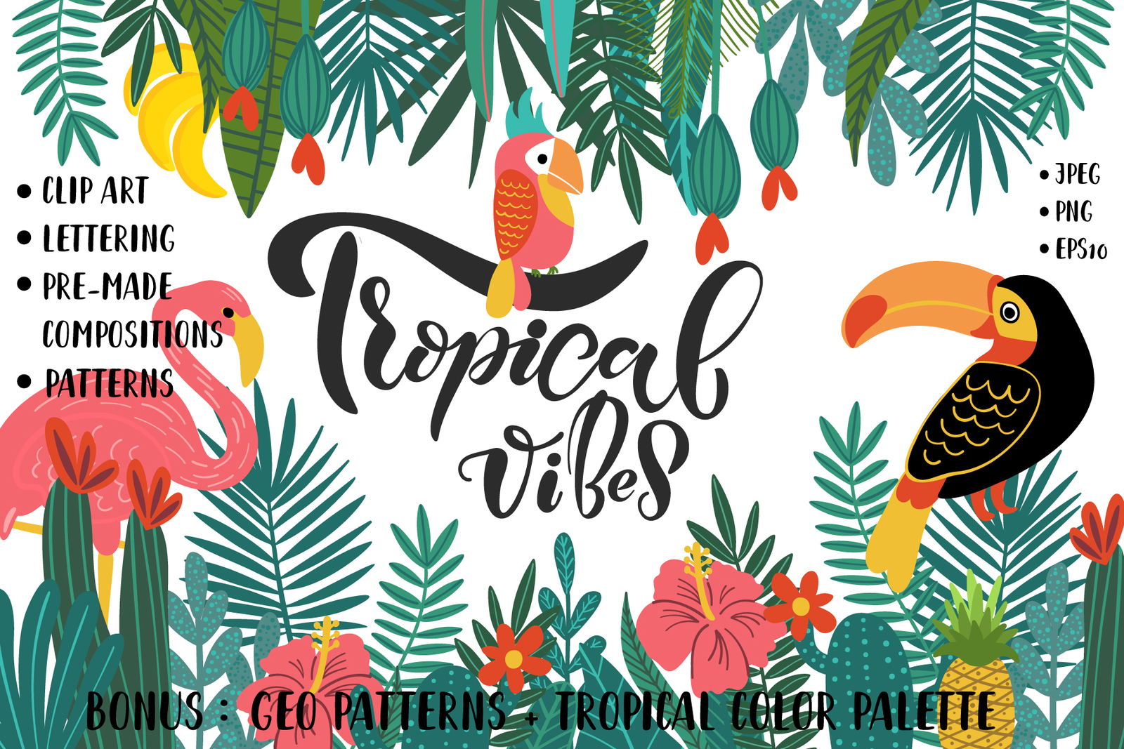 Tropical Clip Art, Lettering & Patterns Set