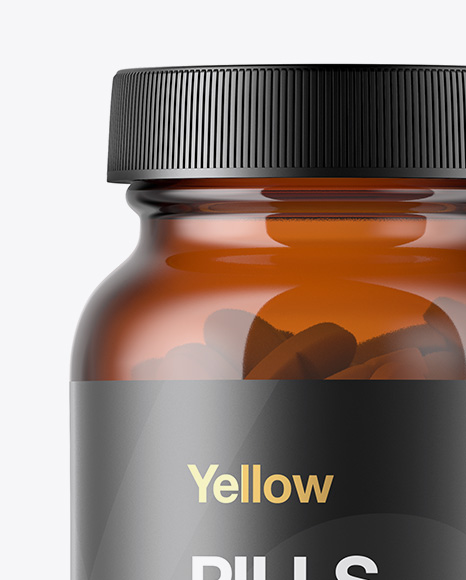 Amber Glass Bottle With Pills Mockup