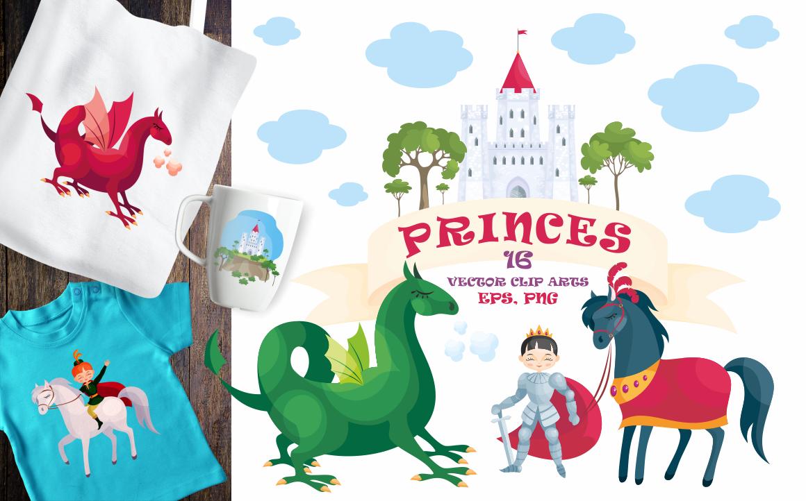Princes. Vector clip arts.