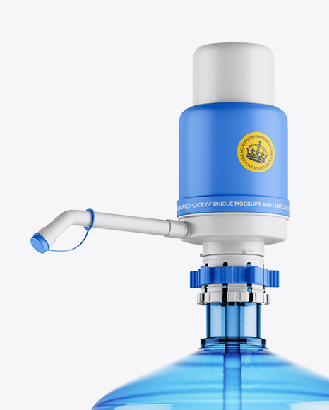 Water Bottle With Matte Pump Mockup