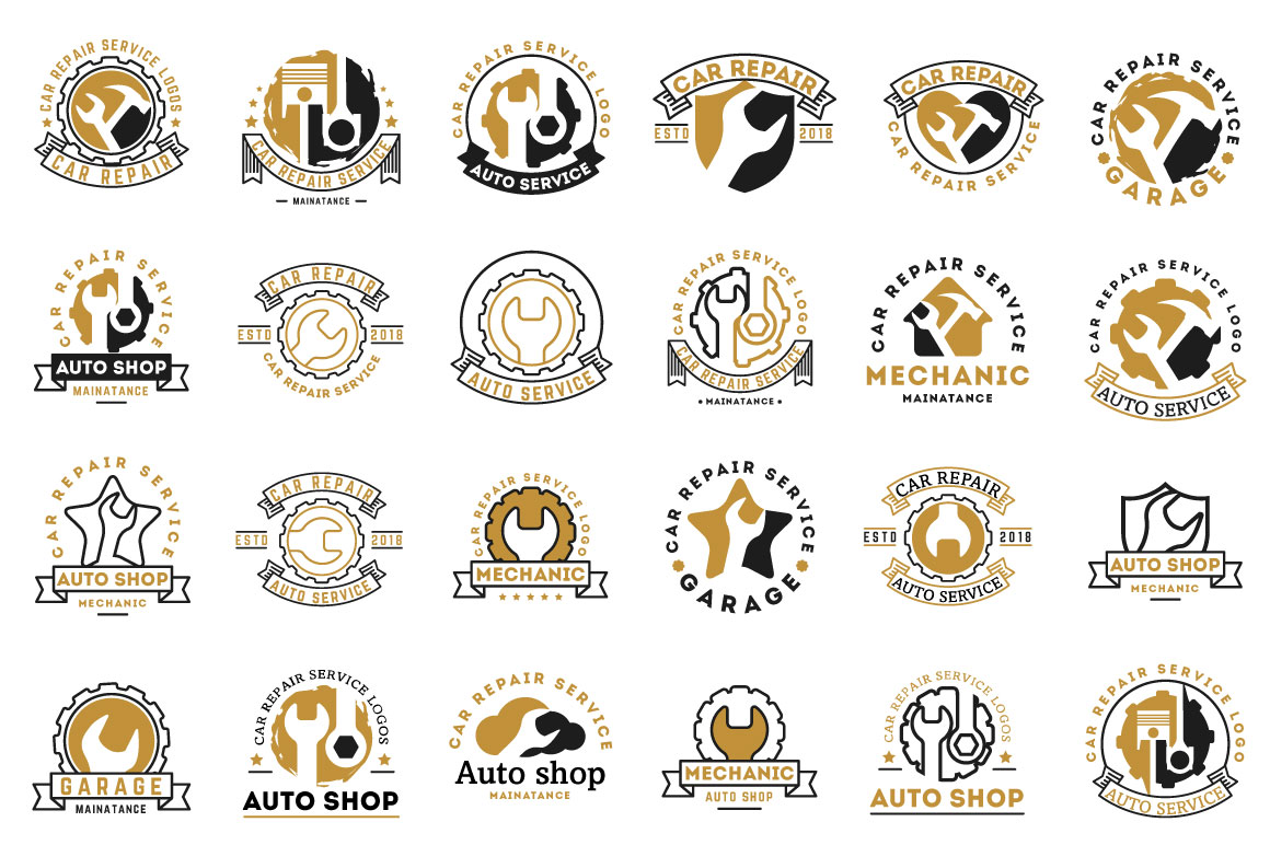Auto Shop Car Repair Service Handyman Plumber Logos Bundle In Logo Templates On Yellow Images Creative Store