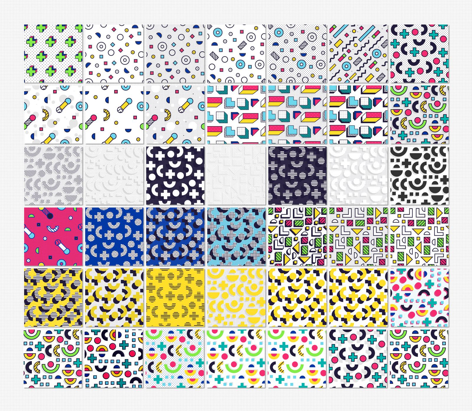 42 MEMPHIS seamless patterns set
