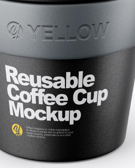 Reusable Coffee Cup Mockup - Front View (High-Angle Shot)