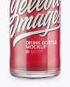 Clear Glass Bottle With Pink Drink Mockup