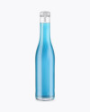 Clear Glass Bottle With Blue Drink Mockup