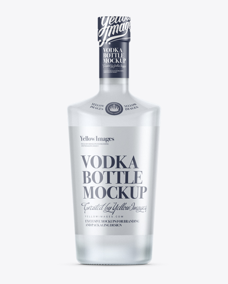 Download Frosted Glass Liquor Bottle Mockup Front View In Bottle Mockups On Yellow Images Object Mockups PSD Mockup Templates