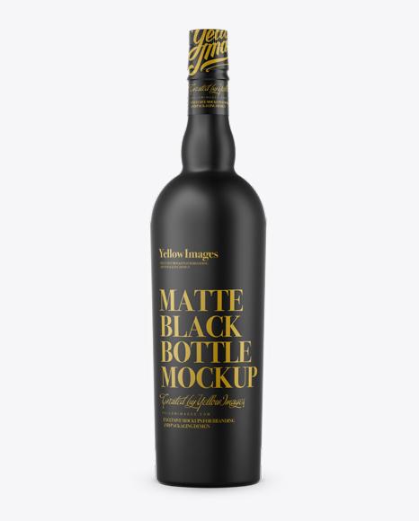 Download Black Matte Liquor Bottle Mockup Front View In Bottle Mockups On Yellow Images Object Mockups PSD Mockup Templates