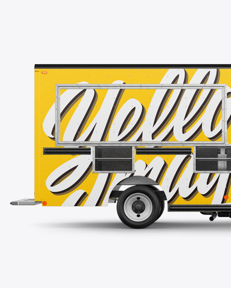Food Truck Mockup - Half Side View