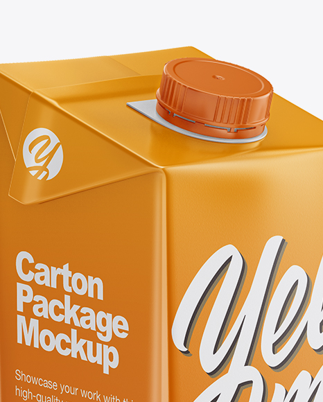 1L Carton Box Mockup - Half Side View