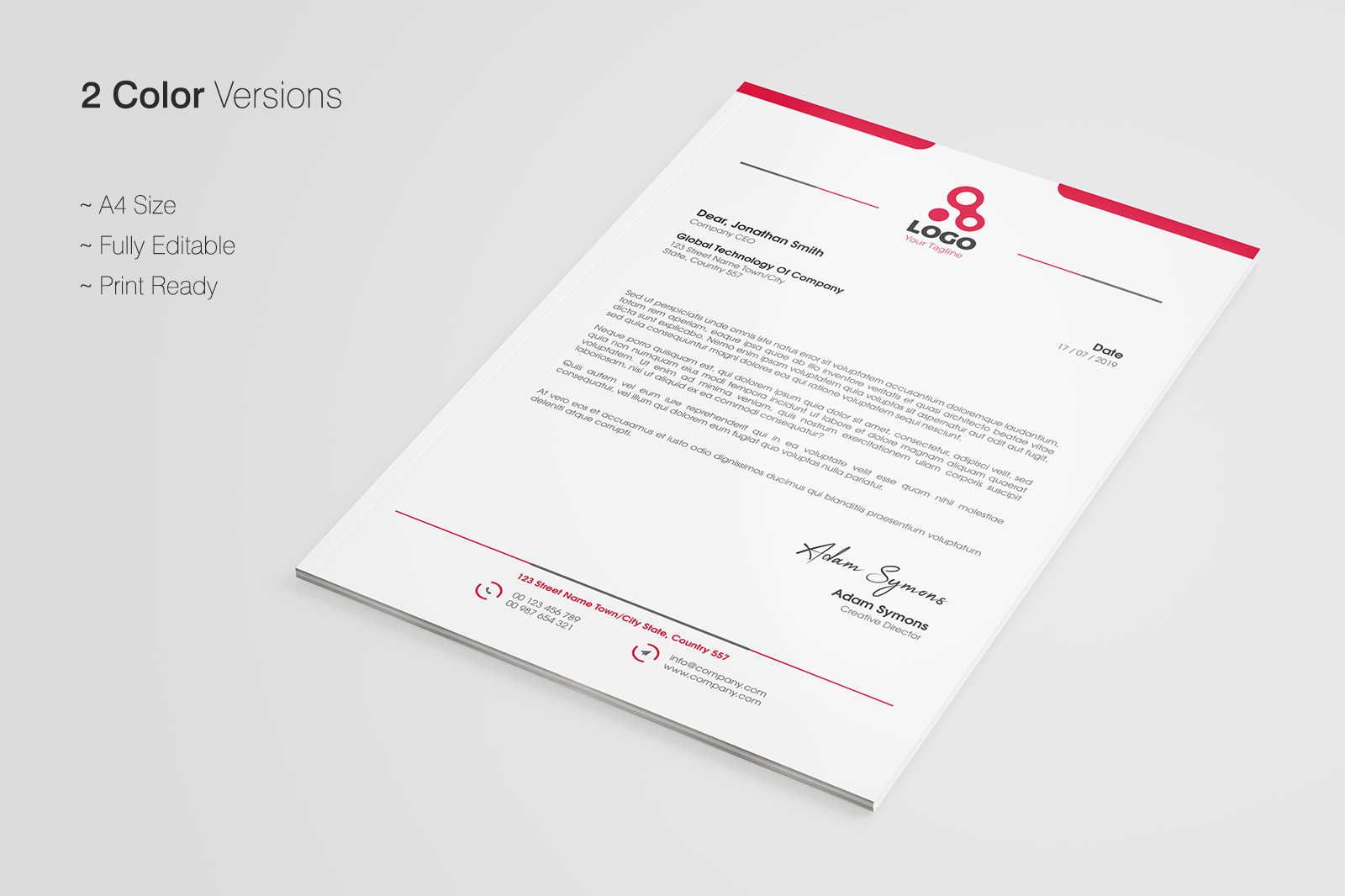 Letterhead Template In Corporate Identity Templates On Yellow