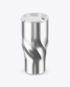 390ml Stainless Steel Travel Cup Mockup (High-Angle Shot)