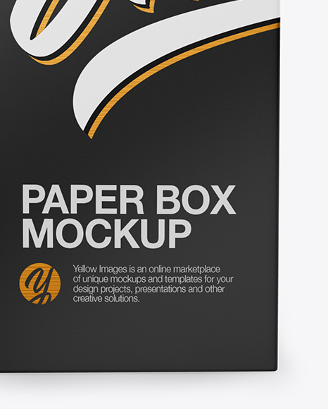 Matte Paper Box Mockup - Front View (High-Angle Shot)