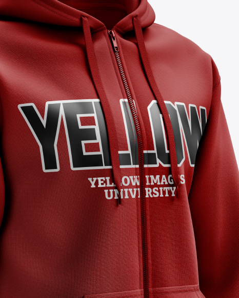 Men's Full-Zip Hoodie mockup (Right Half Side View)