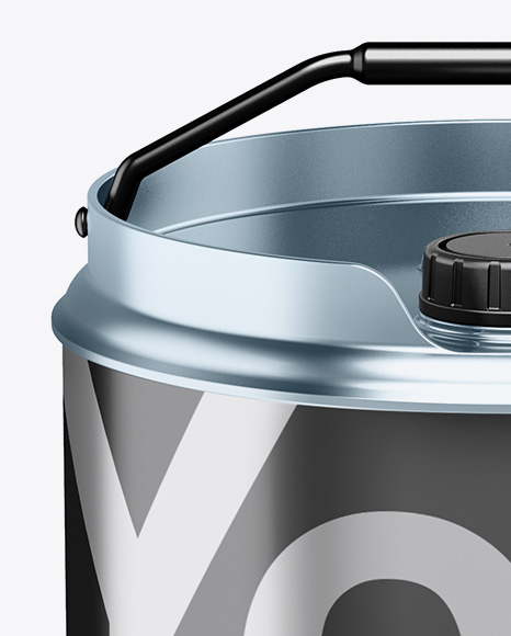Matte Metallic Oil Tin Can Mockup - High-Angle Shot