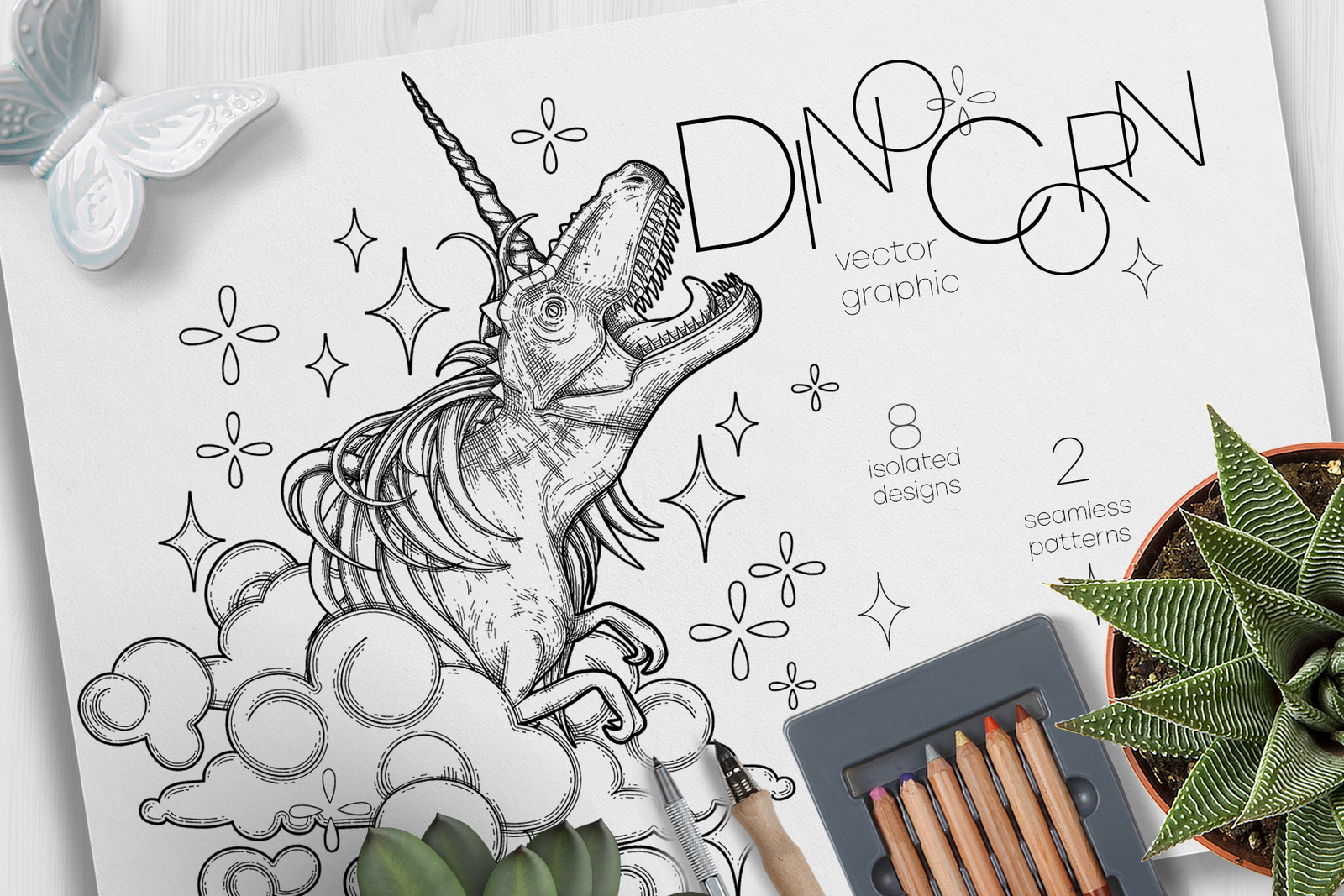 Dinocorn - coloring pages