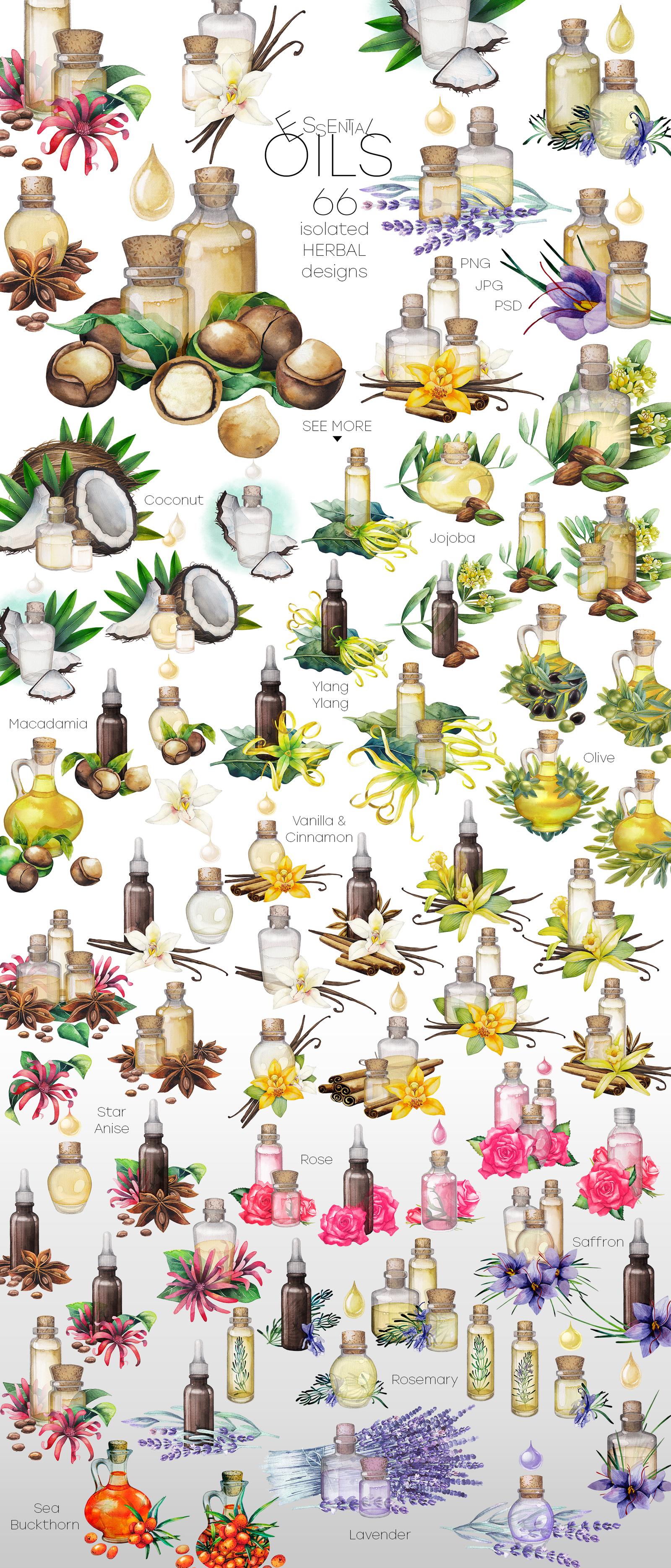 Watercolor essential oils