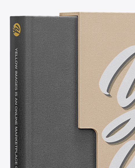Download Kraft Box With Book Mockup Half Side View In Box Mockups On Yellow Images Object Mockups PSD Mockup Templates