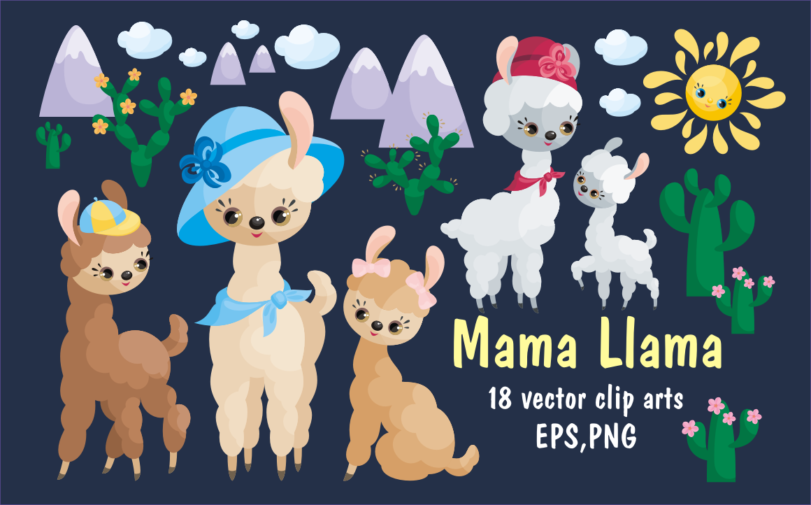 Mama Llama. Vector clip arts for Mother's Day.