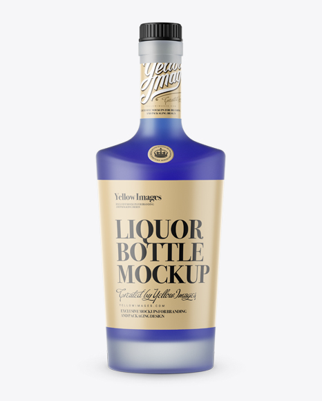 Download Frosted Bottle W Blue Liquor Mockup Front View In Bottle Mockups On Yellow Images Object Mockups Yellowimages Mockups