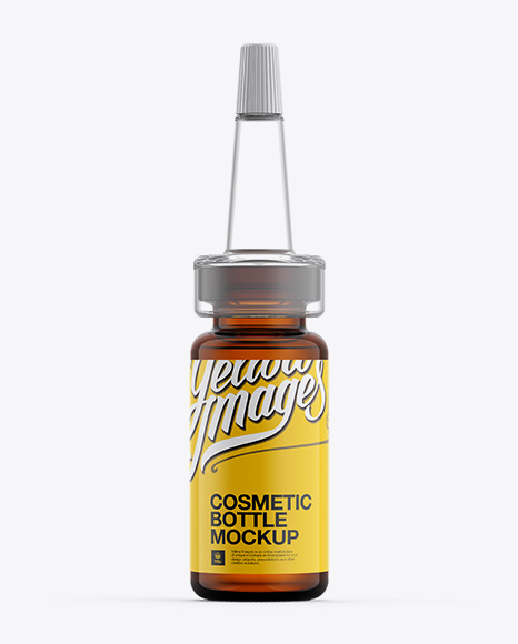 Amber Glass Cosmetic Bottle W/ Dropper Mockup