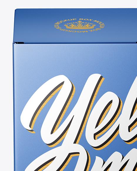 Metallic Paper Box Mockup - Front View (High-Angle Shot)