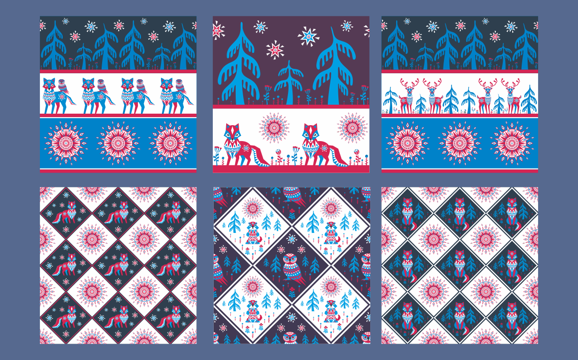 Northern tale. Seamless patterns with Arctic animals in Tribal style