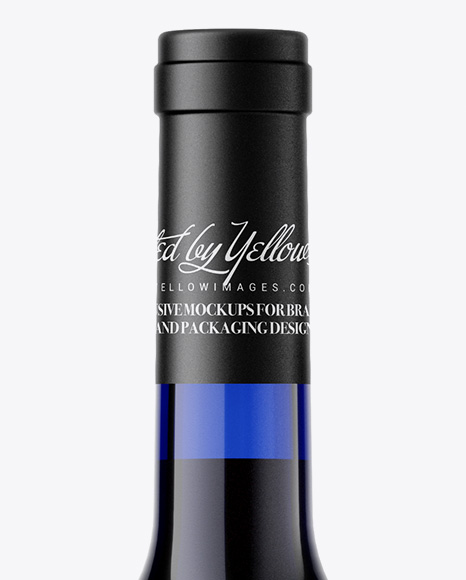 Blue Glass Red Wine Bottle Mockup