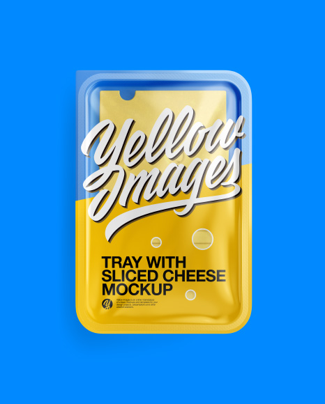 Tray With Sliced Cheese Mockup - Top View