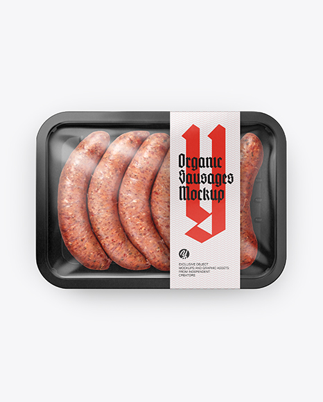 Plastic Tray With Sausages Mockup - Top View