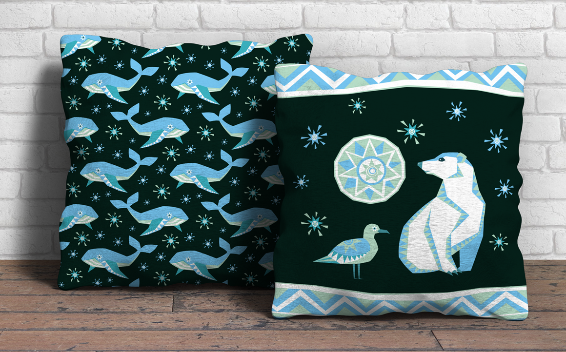 Polar night. Vector clip arts and seamless patterns in ethnic style.