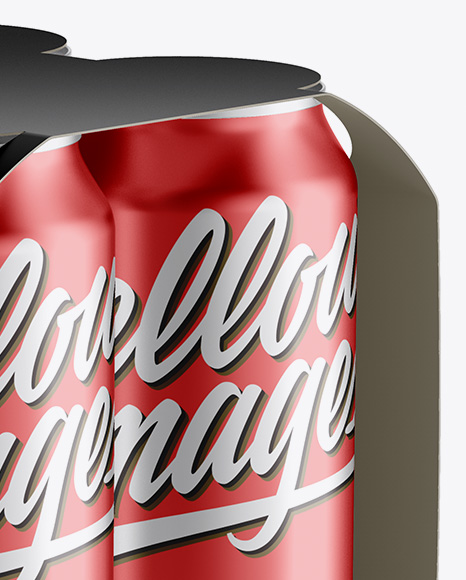 Download Carton Carrier 4 Metallic Cans Mockup Front View PSD - Free PSD Mockup Templates