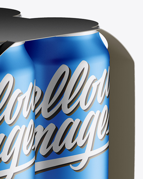 Carton Carrier W/ 4 Matte Metallic Cans Mockup - Half Side View (High-Angle Shot)