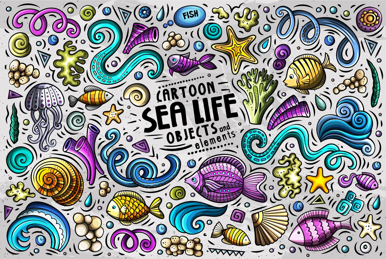 Sea Life Vector Cartoon Objects Set